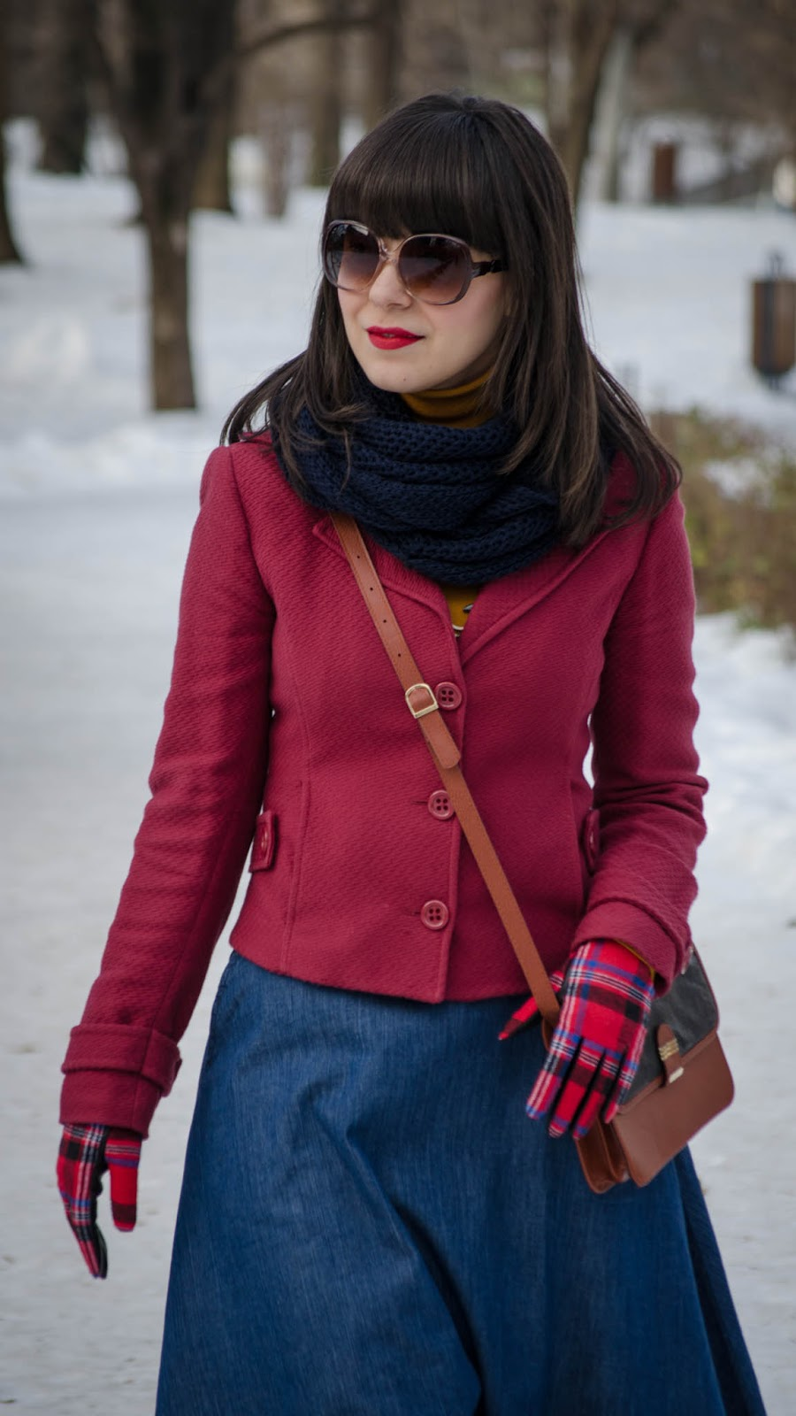 A line jeans skirt stradivarius marsala miniprix jacket tartan gloves mustard turtleneck bike wooden necklace  navy scarf burgundy shoes romanian producer trifted bag