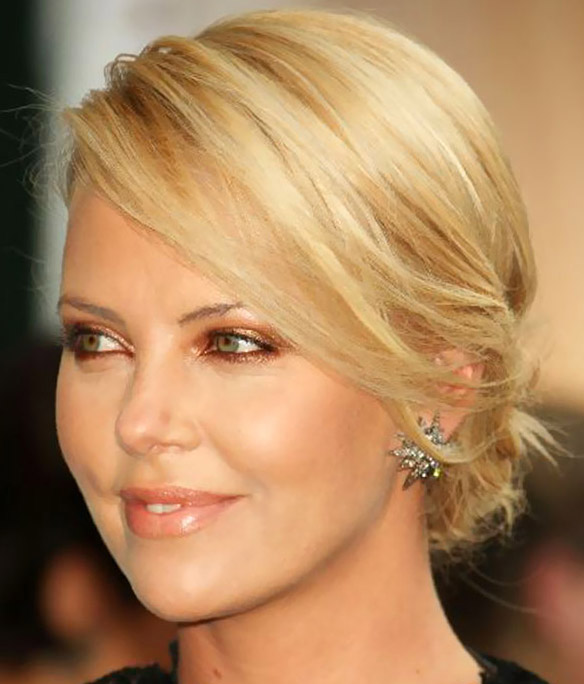 charlize theron twisted updo hairstyles 2013 celebrity