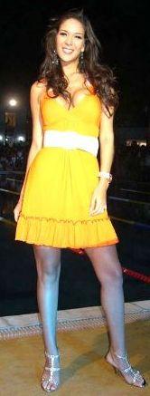 Silvia Cornejo luciendo vestido amarillo