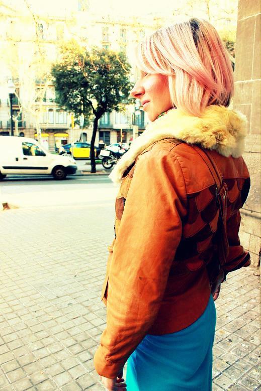 chaqueta de cuero marron