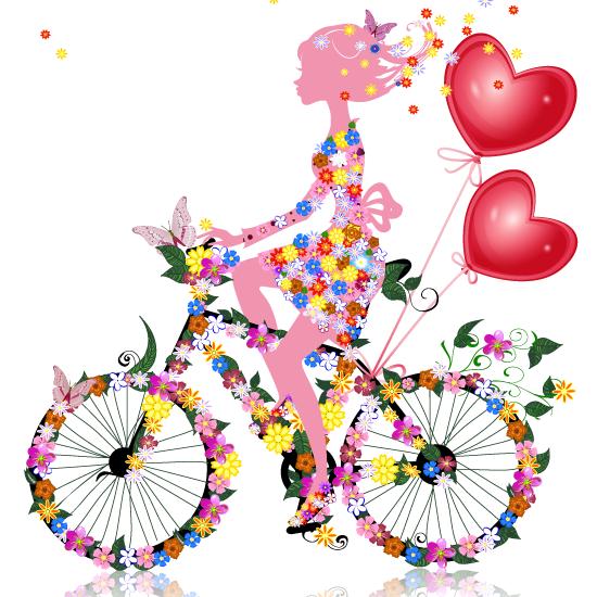 San Valentín chica floral - Vector