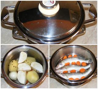 preparare peste salau cu legume la aburi in vas zepter, retete culinare, retete de mancare, retete de peste, preparate din peste, cum facem peste la aburi cu legume,