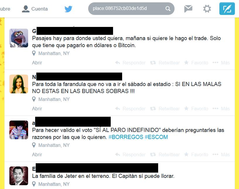 Tweets etiquetados con la ubicación del usuario