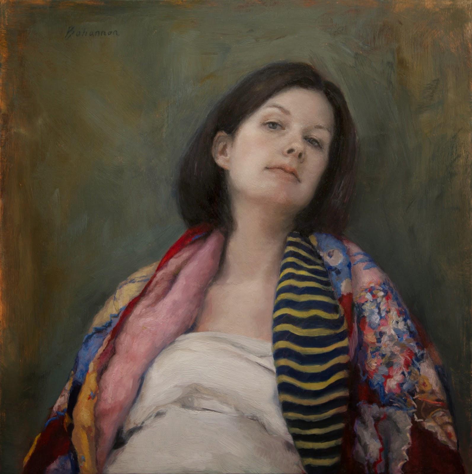 Artist Candice Bohannon Pregnancy Portrait Oil Painting Pregnant Woman On Copper