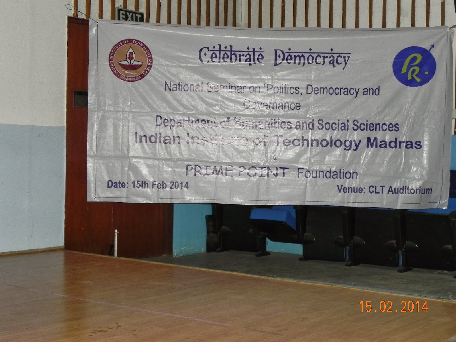 National Seminar on politics, democracy and governance at IIT Madras on 15th Feb 2014 at IIT Madras