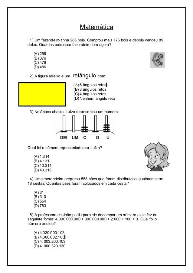 Amado Rosearts- Atividades para imprimir: Avaliação de matemática / 4º  CM86