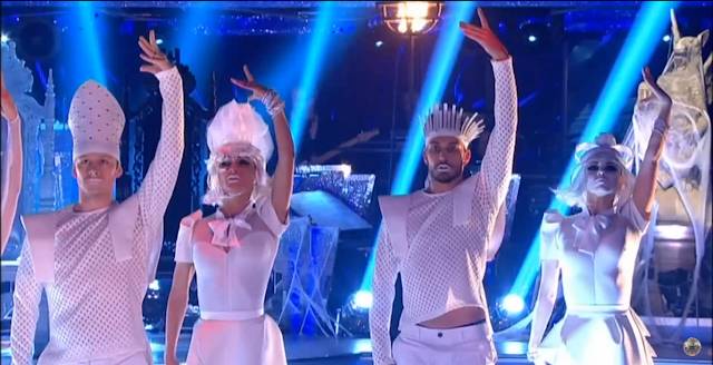 Strictly Come Dancing, Halloween, Mystic Magic, halloween 2015, chess, game of chess, dancing, white, fashion show, headwear, headpiece, couture, celebrity dancing, TV, BBC,
