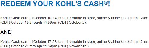 Redeem Kohls Cash 10/24-11/3, 2013