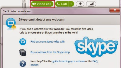 can not detect webcam on skype
