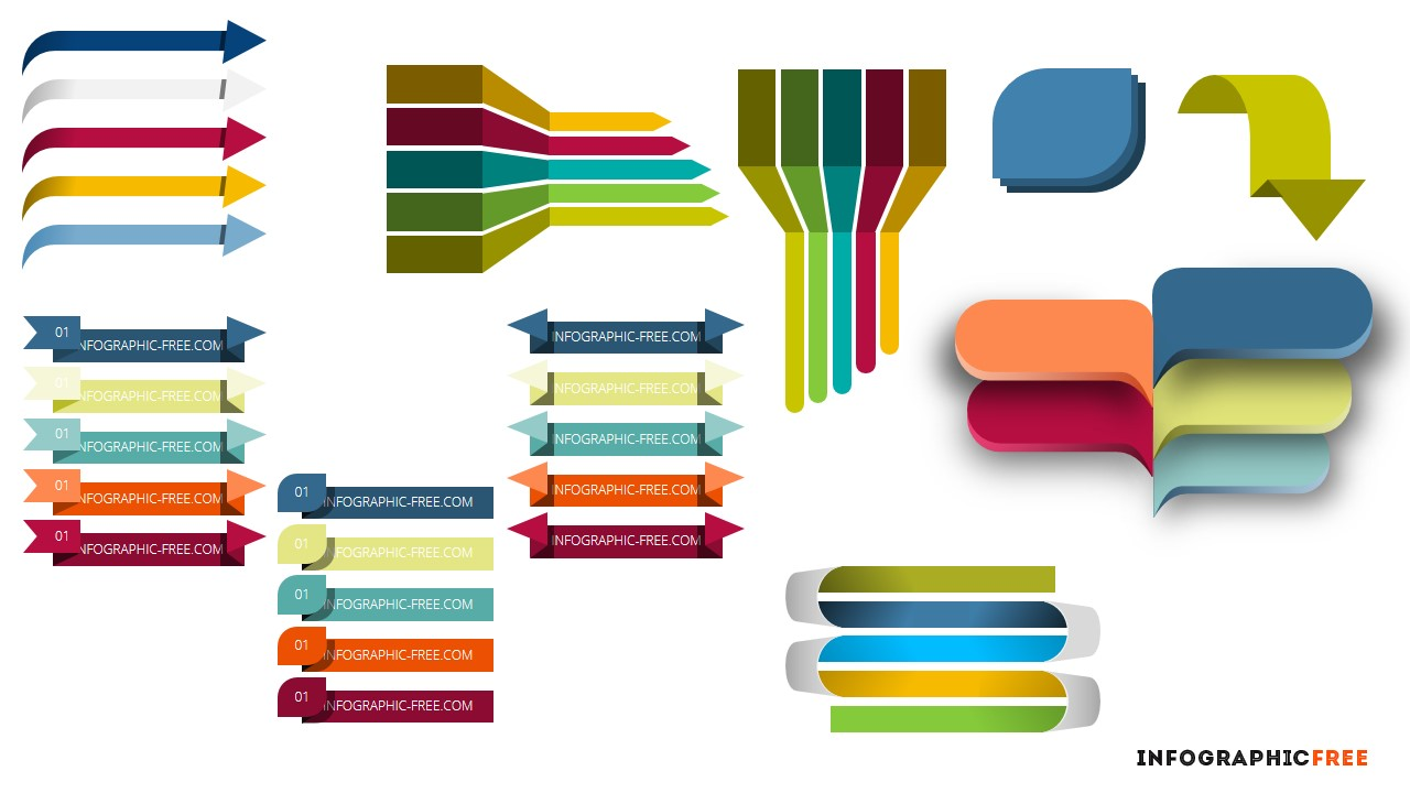 free infographic ribbons and banners for powerpoint templates, Modern powerpoint