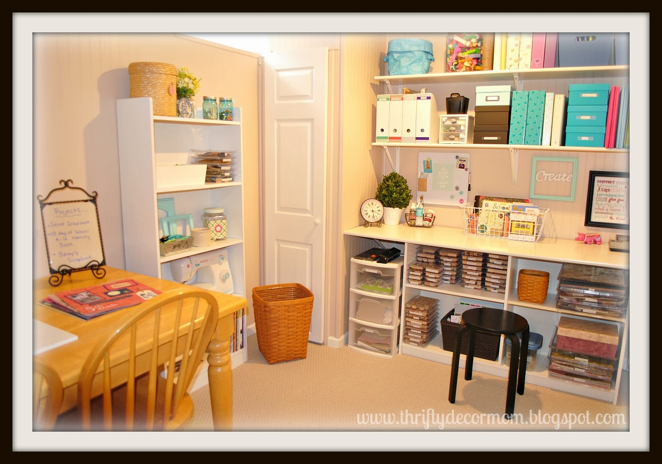An organized craft space thrifty decor mom craft for Organizing living room family picture ideas