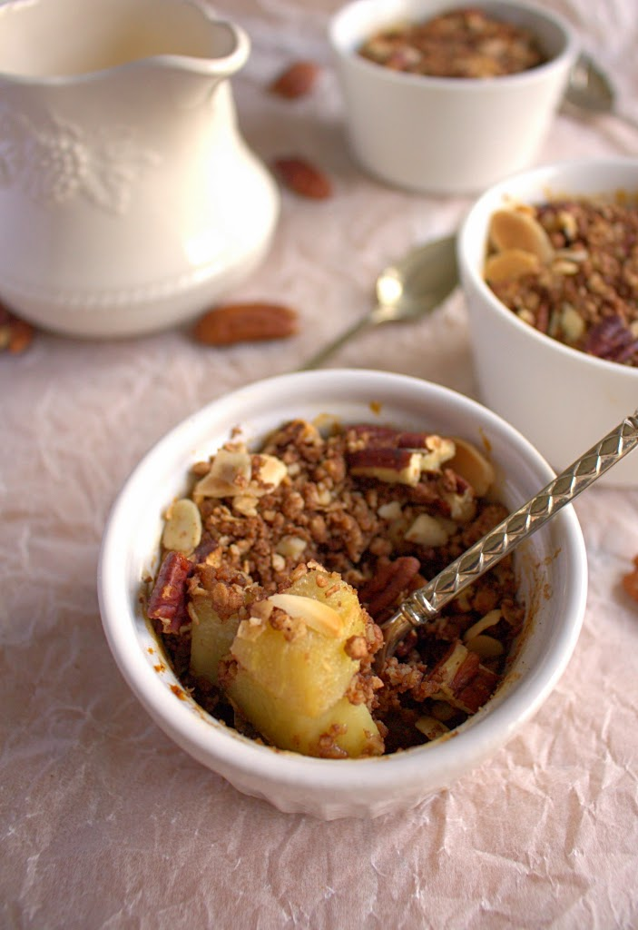 Mini Double Chocolate Pecan Pear Crumbles