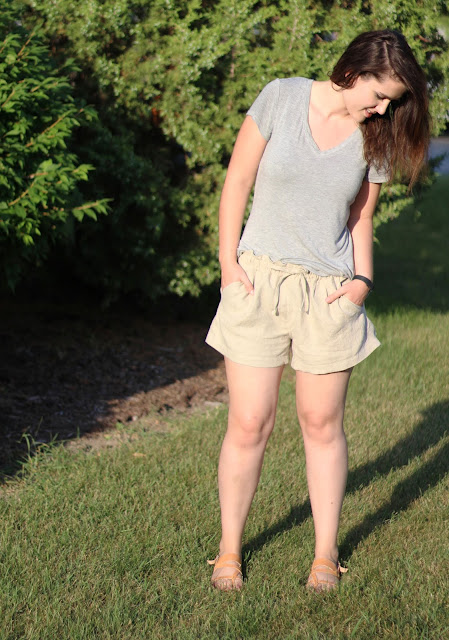 This is me, modeling the shorts I just sewed.