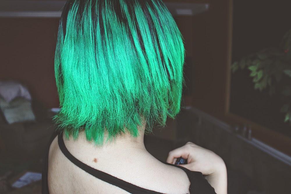 green hair, Manic Panic's Electric Lizard, bangs, bob,