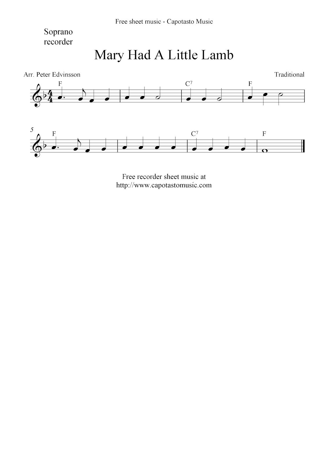Mary Had A Little Lamb free soprano recorder sheet music notes