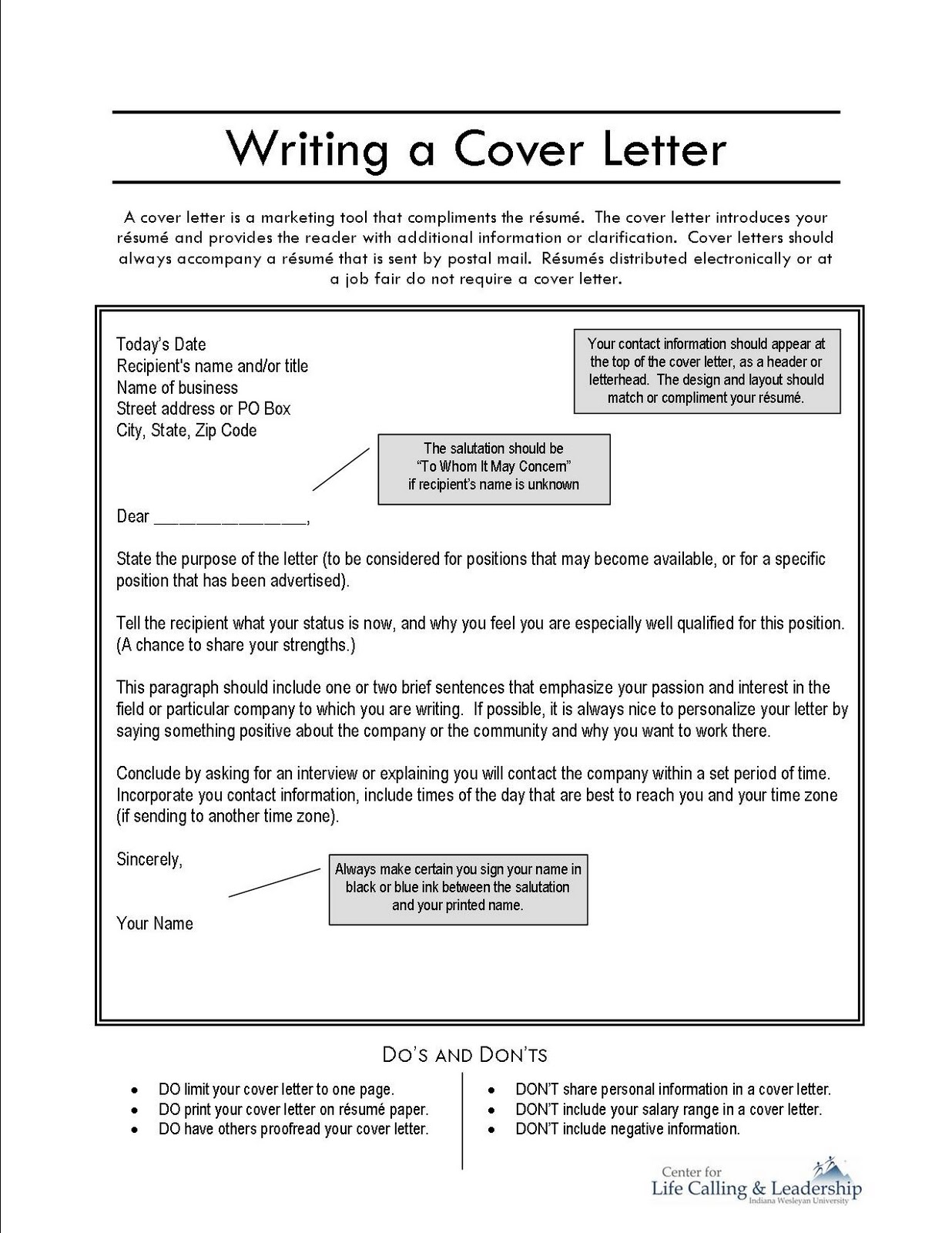 Writers Cover Letter