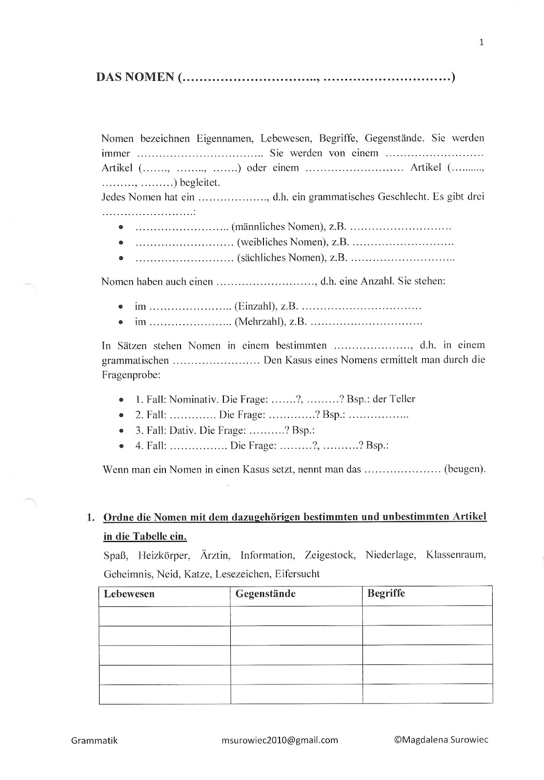 u0026quot;Aspekte der Germanistiku0026quot;: Wortarten. Teil 1: u00dcbungen zu Nomen