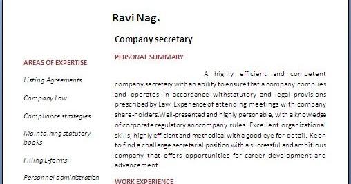 Company Secretary Resume Format – Secretary Resume Format