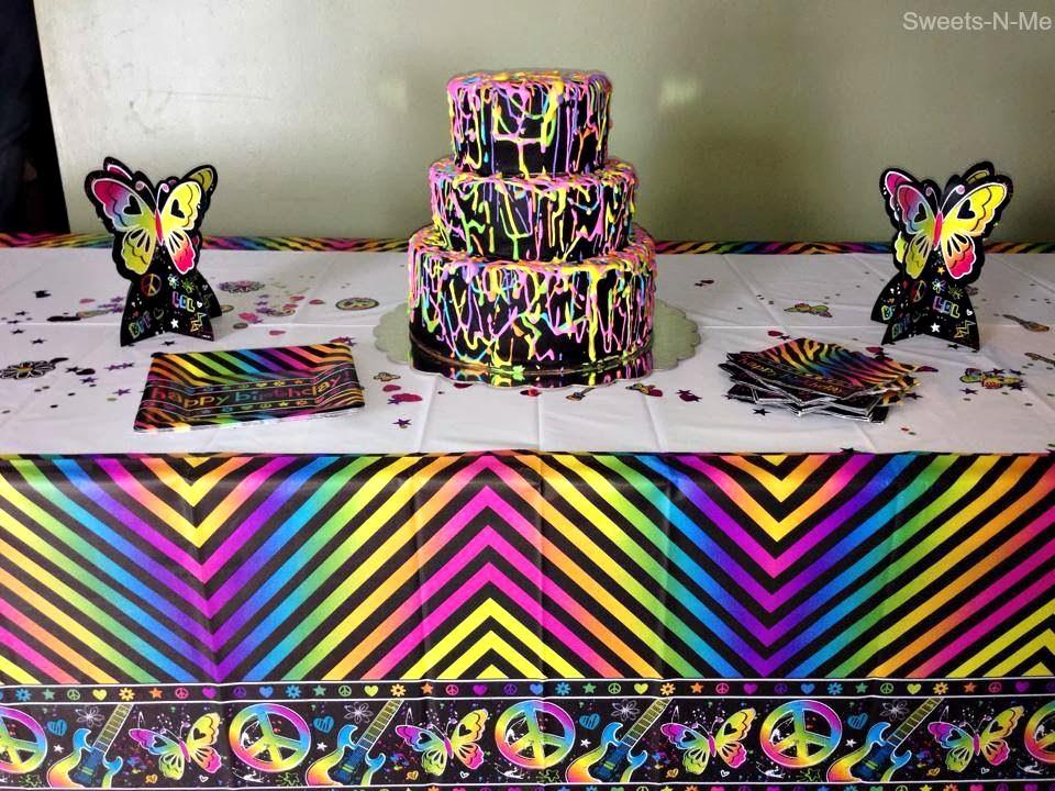 neon birthday cake rainbow