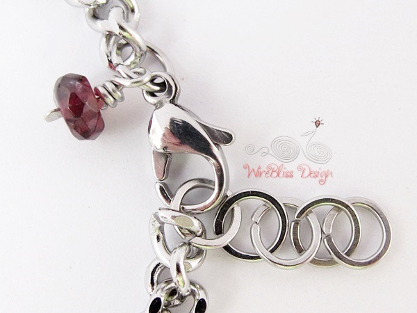Minlet by WireBliss - Garnet with Stainless Steel Clasp and Charm