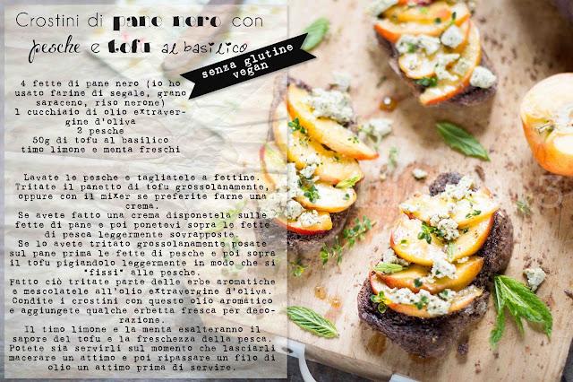 crostini di pane nero alle pesche e tofu al basilico - appuntamento bio