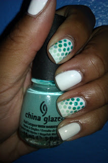 Ombre, polka dot, nail art, mani