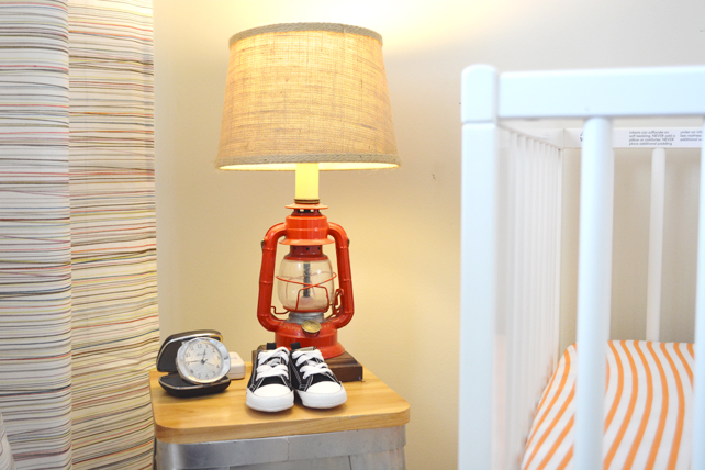 Ford's Baby Boy Nursery Lantern Lamp - Interior Design by Lesley Myrick, Pasadena Interior Designer