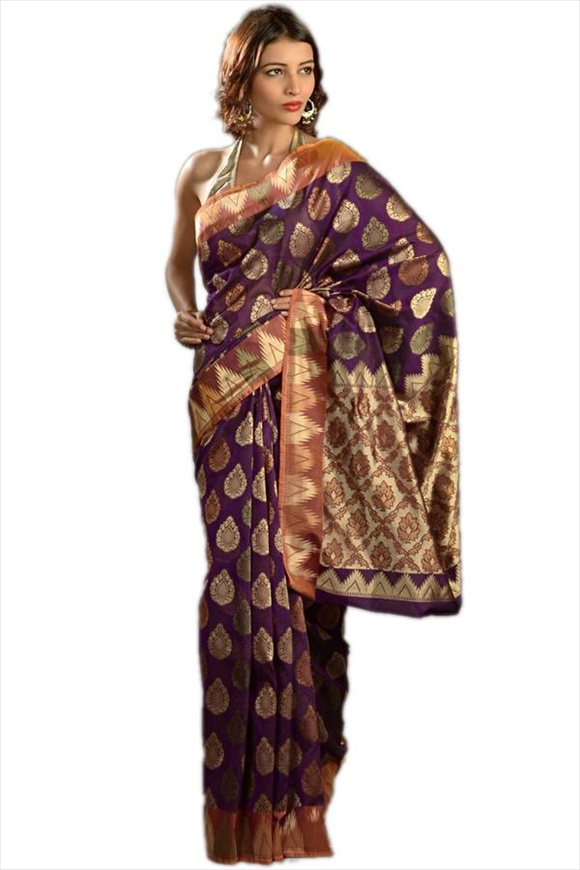 Royal Lilac Art Georgette Banarasi Saree