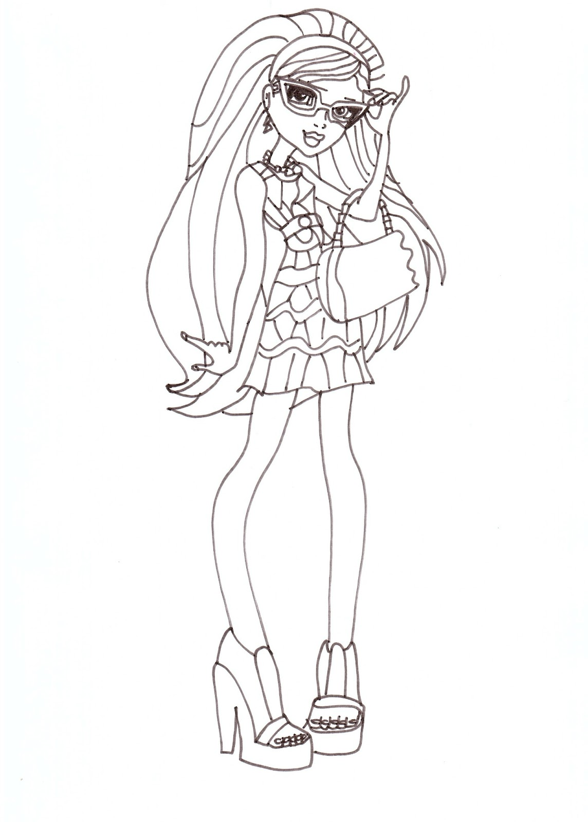 free printable monster high coloring pages ghoulia fashion 2012
