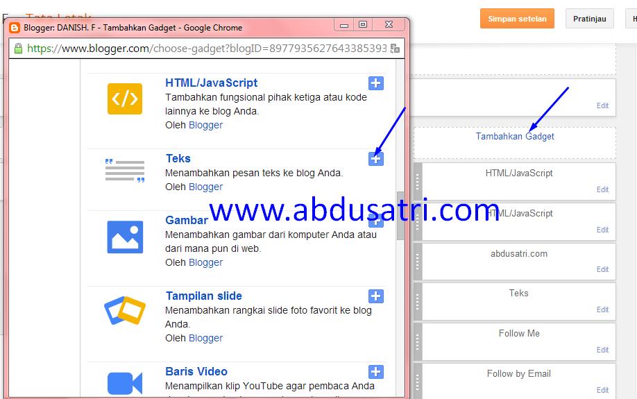 cara pasang widget atau gadget di blogspot