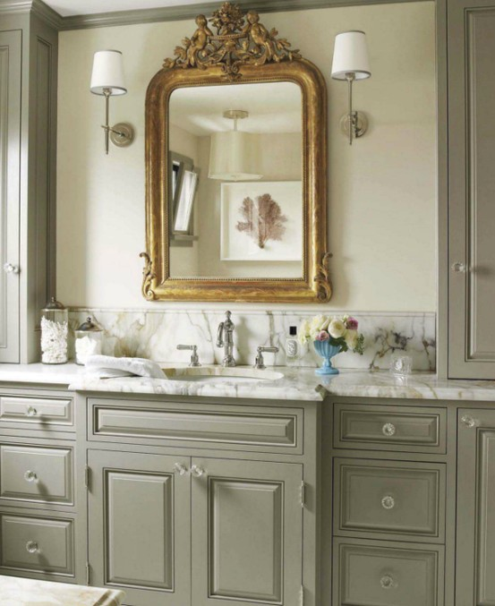 A Perfect Gray Greige Bath Cabinets