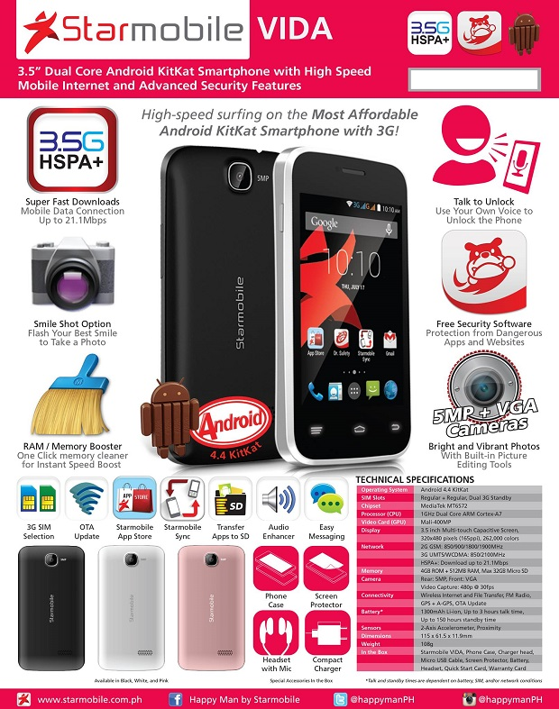 Starmobile Vida: The most affordable Android KitKat smartphone with ...