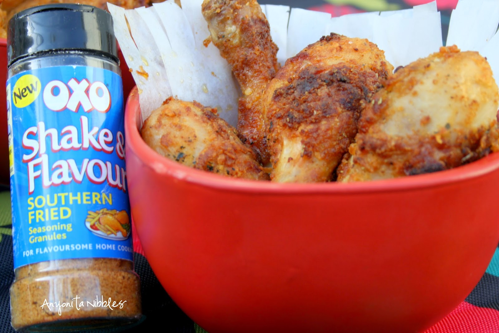 A bowl of OXO Shake & Flavour Southern Fried Chicken Legs from Anyonita Nibbles