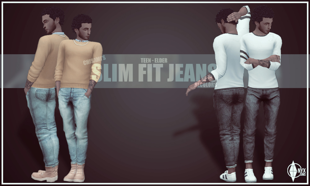 My Sims 4 Blog Slim Fit Jeans In 6 Recolors For Males By