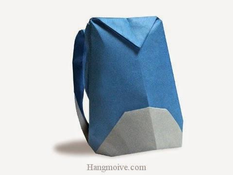 Cách gấp, xếp Balo du lịch bằng giấy origami - Video hướng dẫn xếp hình đồ thời trang - How to fold a Rucksack
