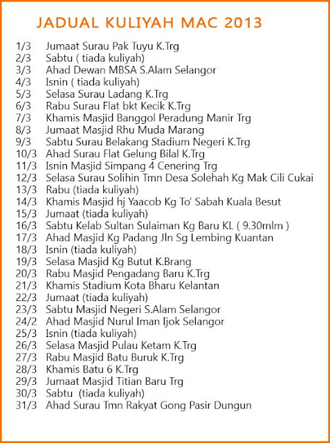 Jadual Kuliah Ceramah Ustaz Azhar Idrus Bulan Mac 2013