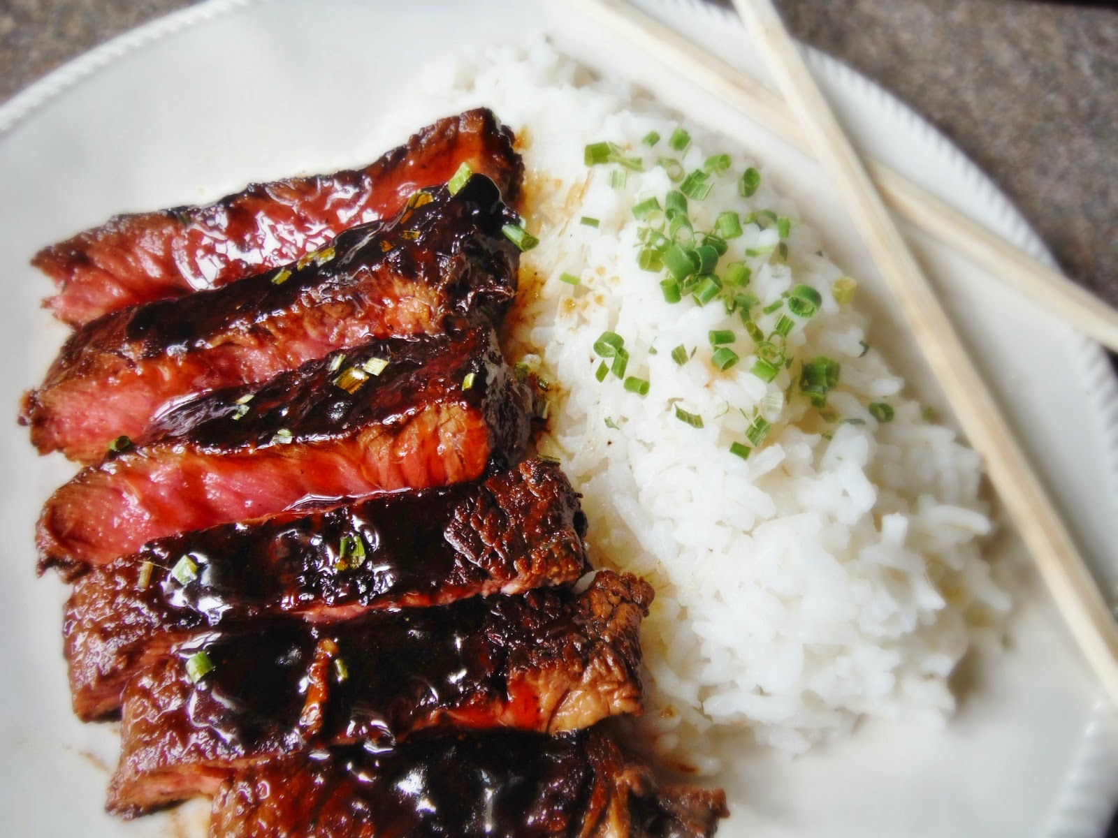 King's: Sticky Bourbon Teriyaki Seared Sirloin Steak