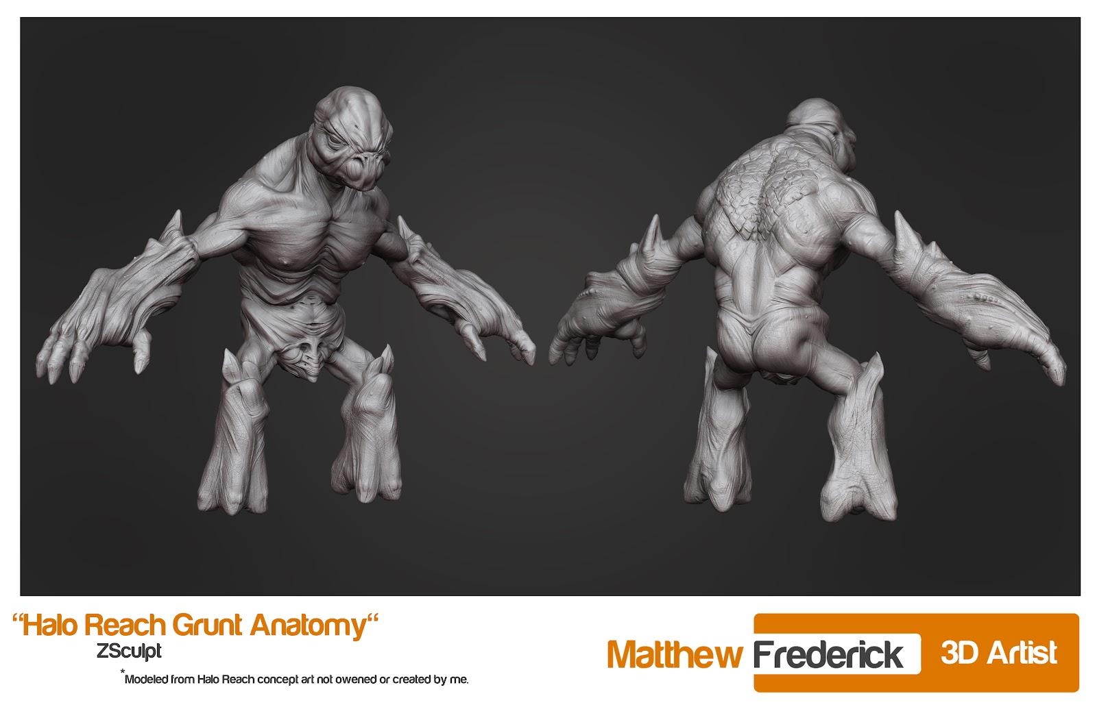 Matt Frederick 3D Artist Halo Reach Grunt