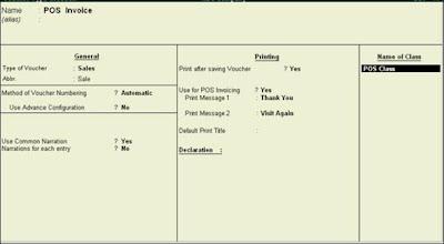 POS Invoice Configuration