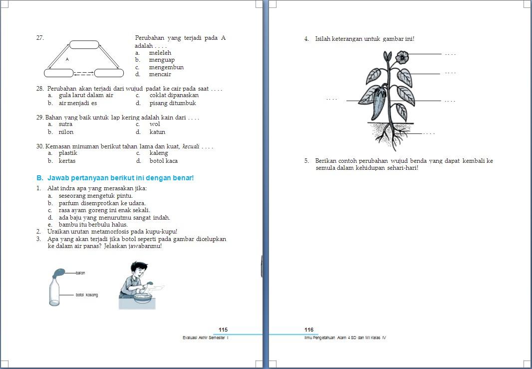 Ipa Soal Evaluasi Akhir Semester 1 Kelas 4 Sd Arrayhan E Learning