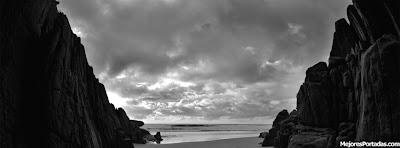 Playa blanco y negro - Mejores Portadas Facebook