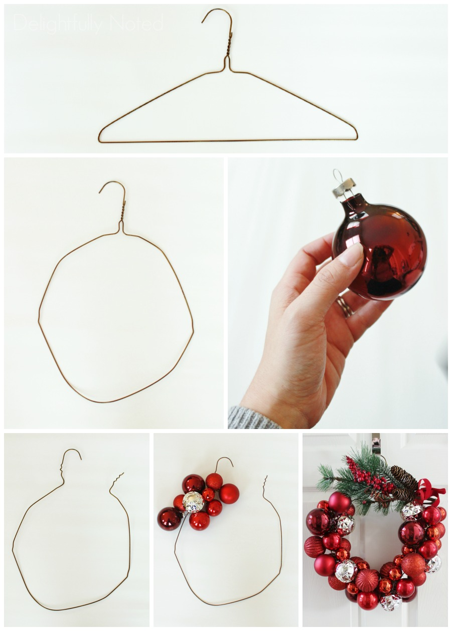 How to make a christmas ornament wreath with a wire hanger for Decoration hangers