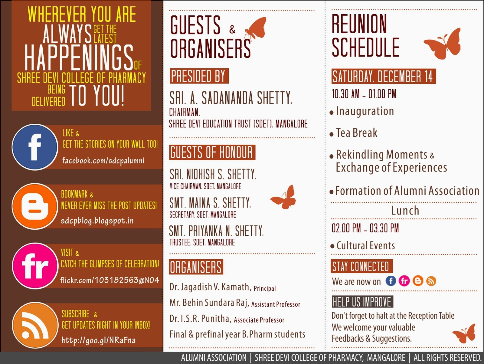 ALUMNI REUNION INVITATION Shree Devi College of Pharmacy