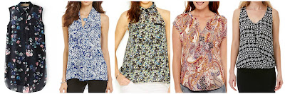 Romwe Black Lapel Sleeveless Floral Chiffon Blouse $12.50 (regular $27.03) also in pink  Investments Sleeveless Inverted Pleat Blouse $17.15 (regular $49.00)  Rachel Roy Sleeveless Printed Blouse $21.99 (regular $79.00) Liz Claiborne Sleeveless Paisley Studded Blouse $24.00 (regular $40.00)  Laundry by Shelli Segal Geometry Draped Top $34.49 (regular $69.00)