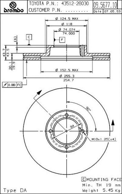 Brake Disc Toyota EFI / YR20 YR21 (09.5677.10)