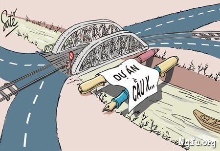Biếm họa những dự án treo về xây dựng cầu cống