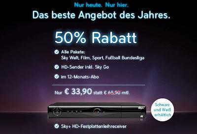 Sky komplett mit Sky Go und Sky+ Receiver für 33,90€ pro Monat