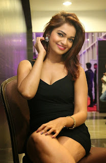Ashwi in Small Sleeveless Deep Neck black Dress spicy Pics