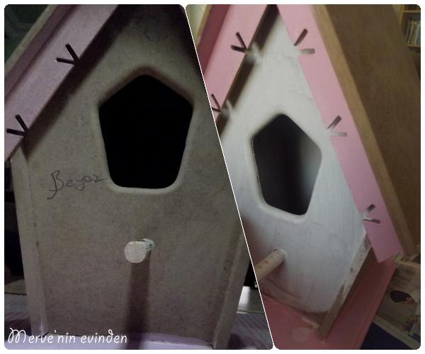 Ahşap kuş ev boyama