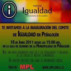 MPL: Convoca a la inauguración del Comité de Igualdad en Peñalolén
